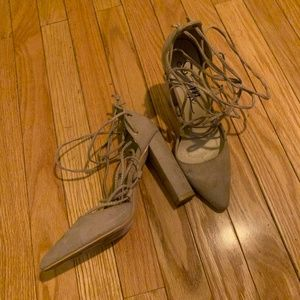 LIKE NEW TAUPE SUEDE LACE UP PUMPS